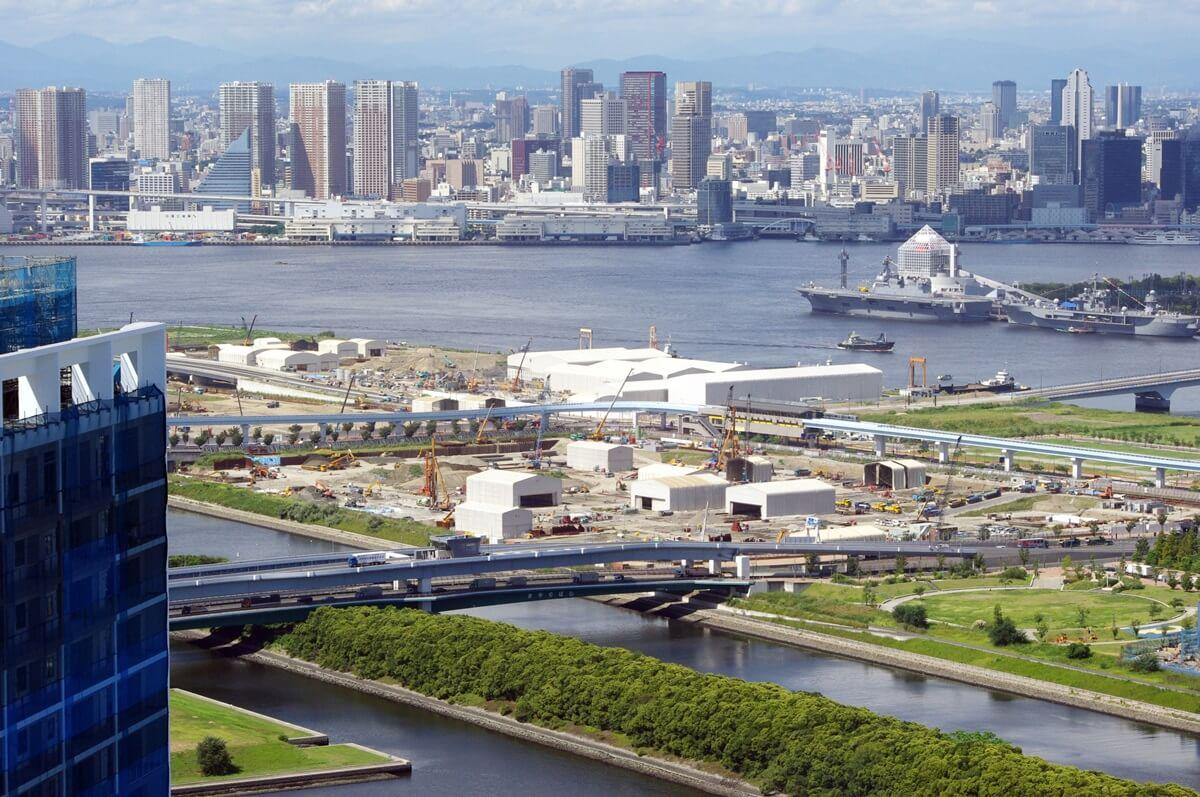 東雲のタワーマンションからの豊洲市場の眺望 (9)