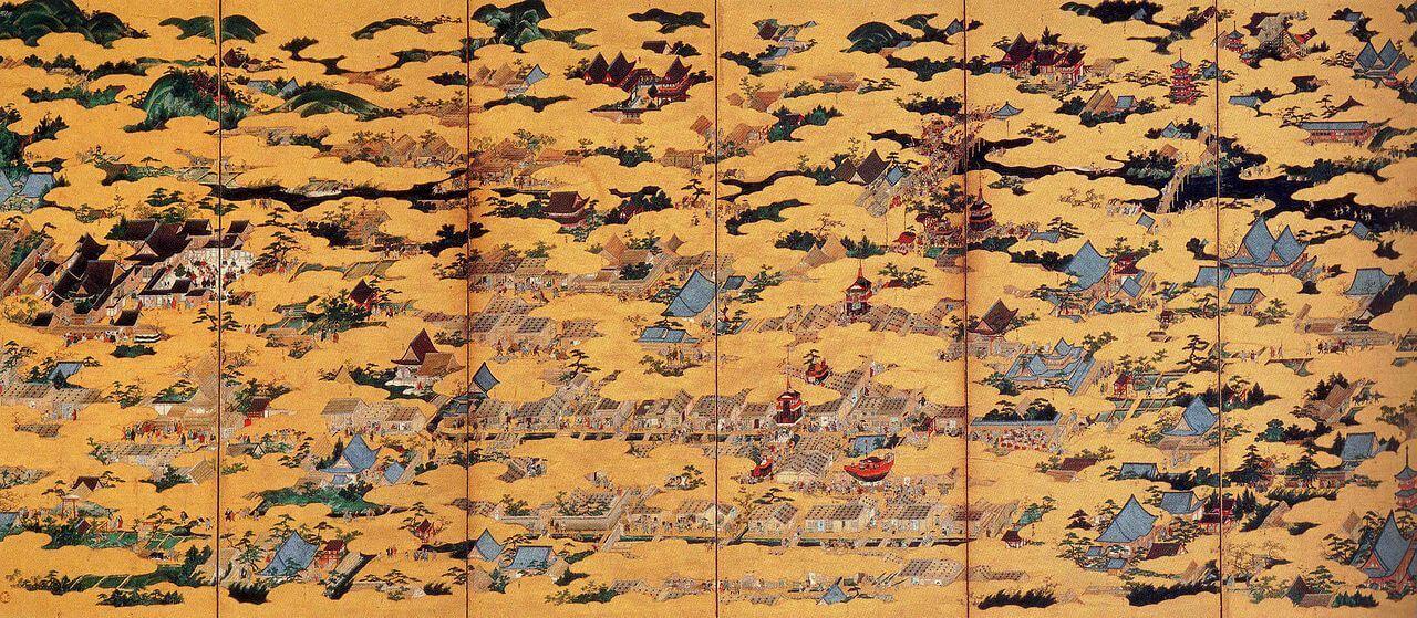 [国宝] 洛中洛外図屏風 上杉本 右隻  狩野永徳筆 室町時代・16世紀