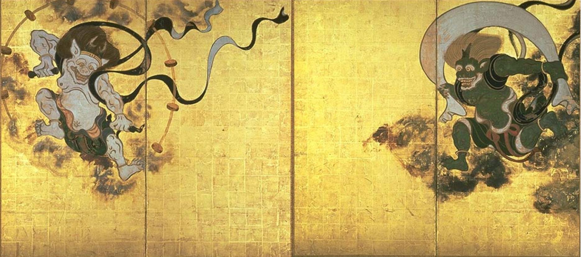 俵屋宗達(たわらやそうたつ)の最高傑作、国宝「風神雷神図屛風」 Fujinraijin-tawaraya