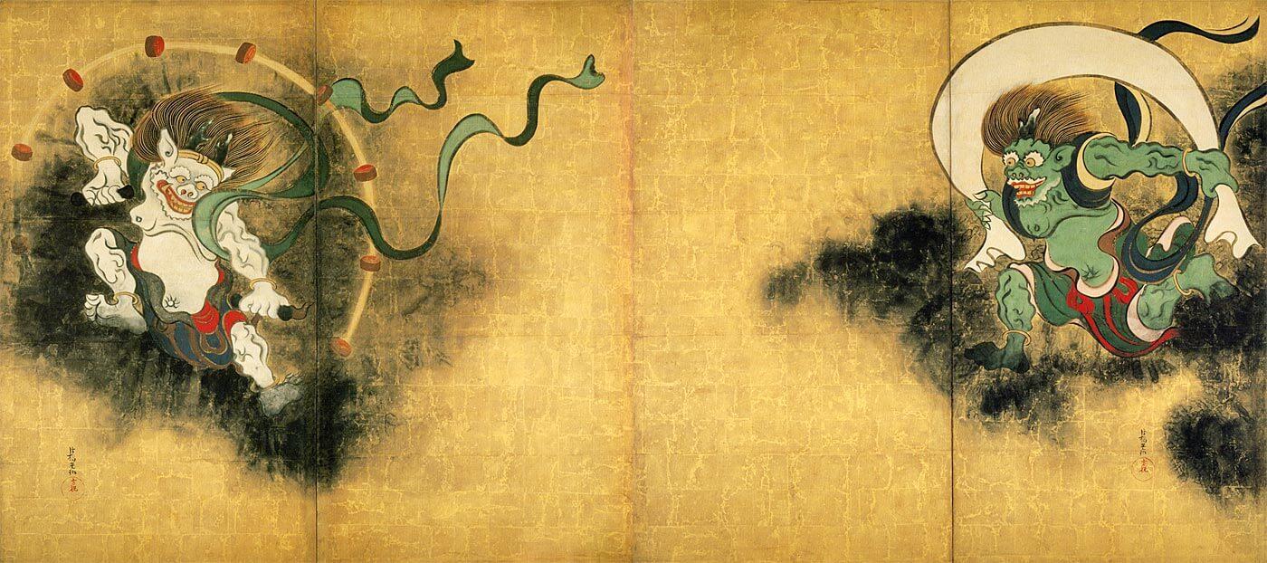 建仁寺 俵屋宗達(たわらやそうたつ)の最高傑作、国宝「風神雷神図屛風」