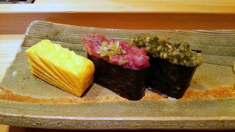 玉子焼き・だし軍艦・ねぎとろ軍艦  鮨 石島 銀座一丁目 新富町 sushi ishijima (8)