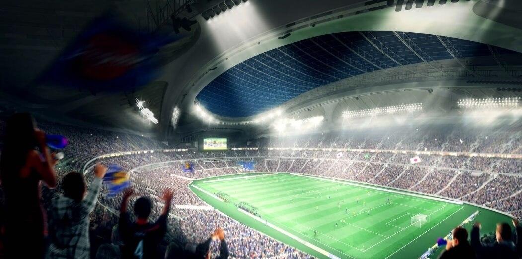 新国立競技場 南西側からの内観パース(サッカー) NEW NATIONAL STADIUM JAPAN (5)