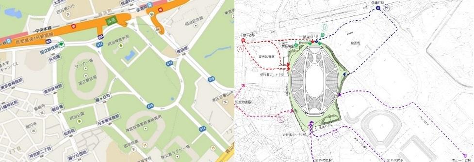 国立競技場と新国立競技場の規模の比較 NEW-NATIONAL-STADIUM-JAPAN_map