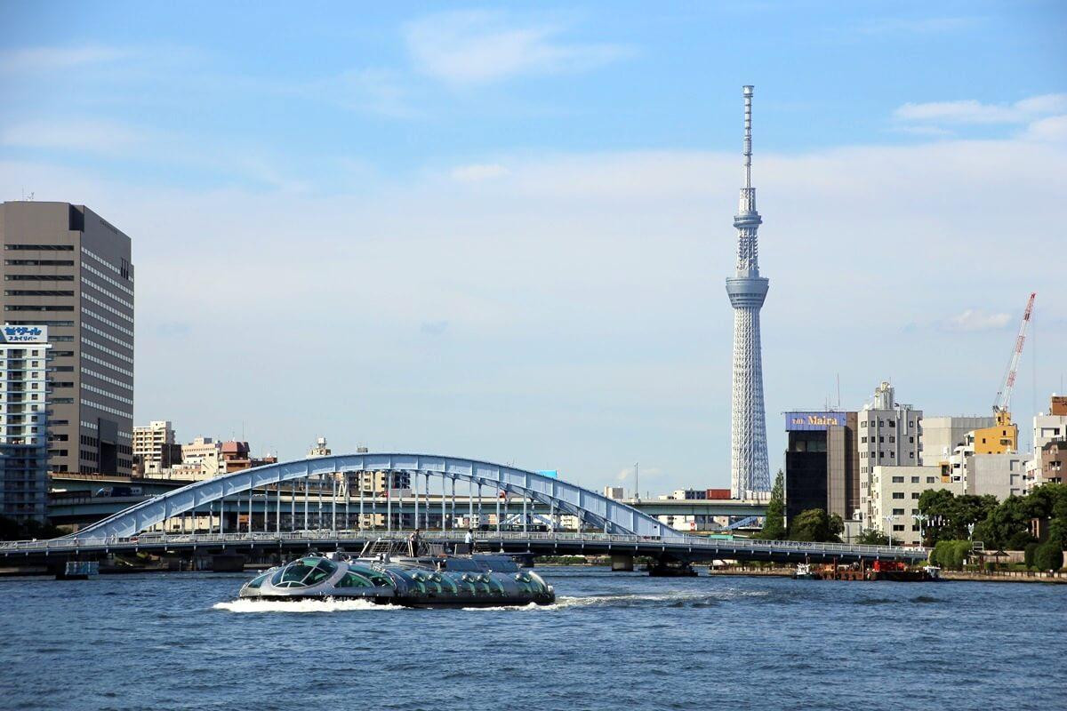 夏の東京スカイツリーと永代橋 tokyo skytree and eidabashi