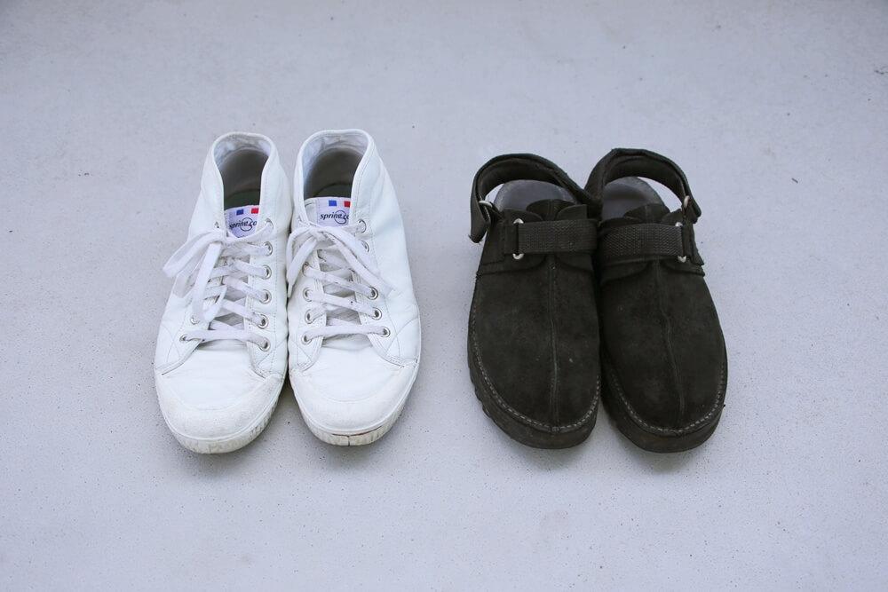 ニードルス リップルソールスエードサンダル ズプリングコート 白いレザースニーカー spring court white sneaker and Ripple Sole Center Seam Sandal NEEDLES
