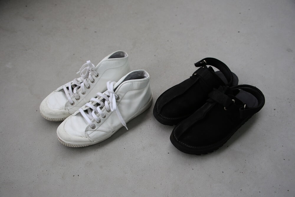 ニードルスサンダル スプリングコートレザースニーカー spring-court-white-sneaker-and-Ripple-Sole-Center-Seam-Sandal-NEEDLES