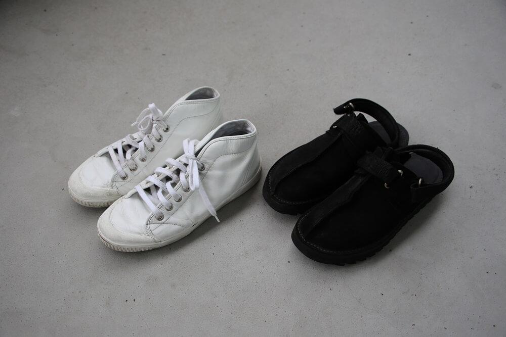 ニードルスサンダル スプリングコートレザースニーカー spring-court-white-sneaker-and-Ripple-Sole-Center-Seam-Sandal-NEEDLES