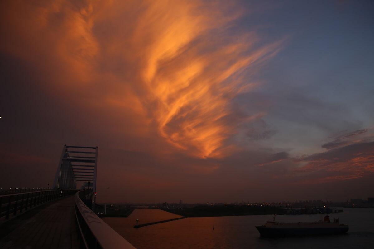 若洲海浜公園から見た東京湾の夕日 wakasu  the sunset (3)