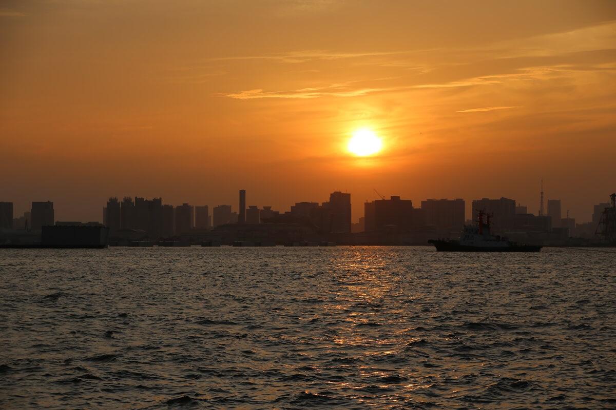 若洲海浜公園から見た東京湾の夕日 wakasu  the sunset (6)