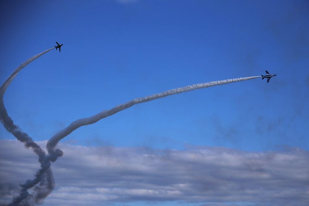 コークスクリュー ブルーインパルス 西武池袋線 稲荷山公園駅 2014年入間基地航空祭 CORKSCREW Blue Impulse 2014 iruma  fly team (330)
