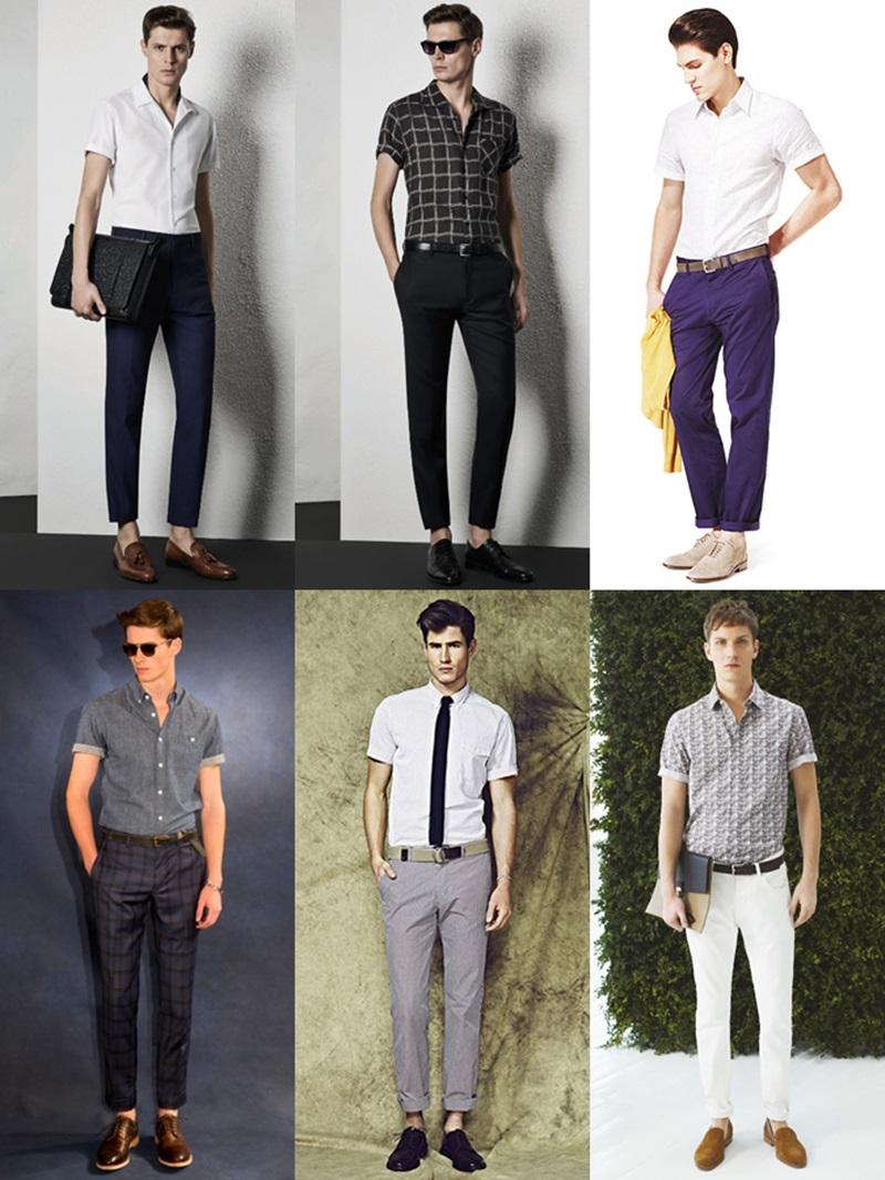 メンズ 長袖シャツ Short-sleeved shirt (2)