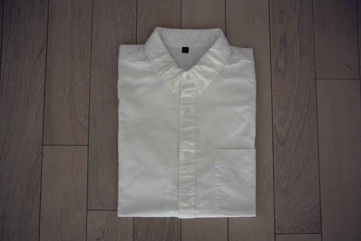 無印良品 コットンオックス ボタンダウン半袖シャツ muji_white_shirts