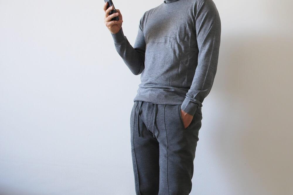 ジャブス・アルキヴィオ  giab's ARCHIVIO masaccio マサッチョ カットソーパンツ ベネトン タートルネックセーター グレー benetton_knit (3)