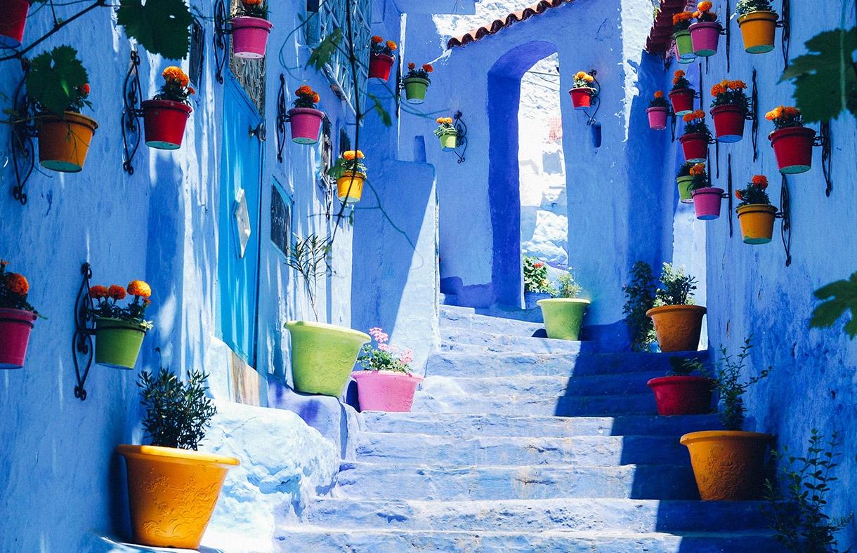 モロッコ シャウエン 青い家と青い街並み Chefchagouen Chefchaouen_Maroc