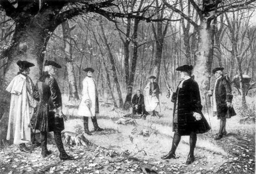 Hamilton-burr-duel 副大統領アーロン・バーと 財務長官のアレクサンダー・ハミルトンとの決闘シーン