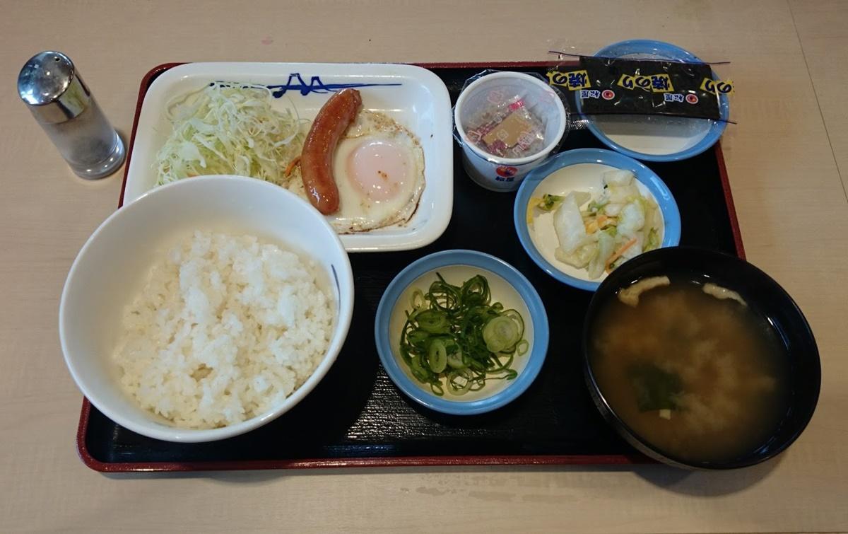 matsuya_asatei-1 松屋 ソーセージエッグ定食