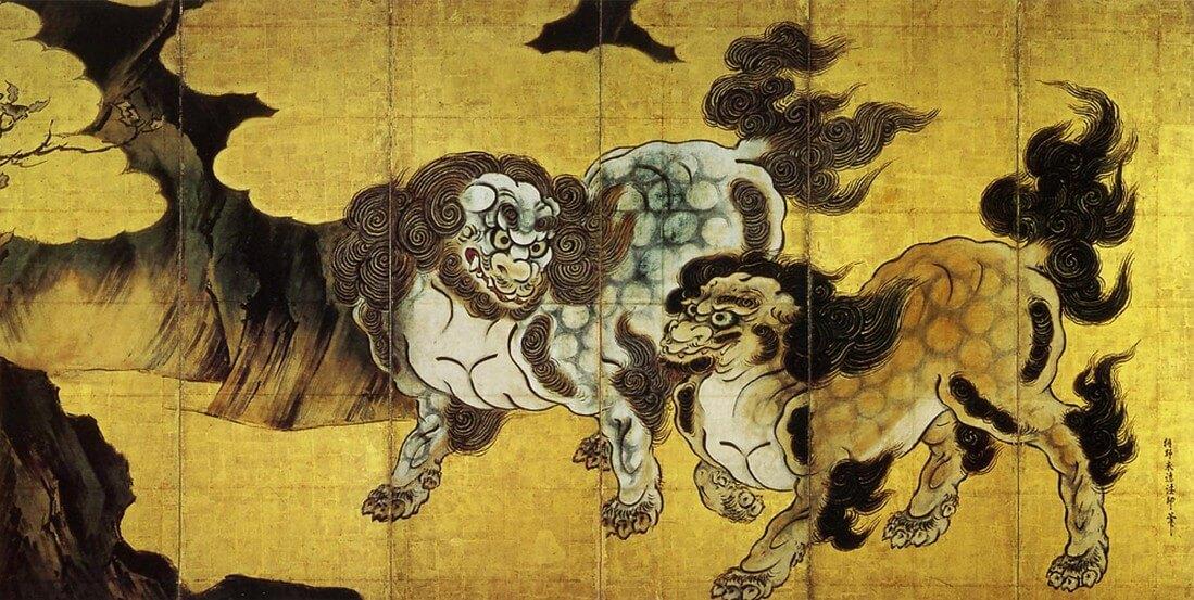 唐獅子図屏風 右隻:狩野永徳(1543~90)桃山時代(16世紀)