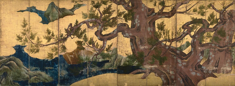 檜図屛風 狩野永徳筆 桃山時代・天正18年(1590)