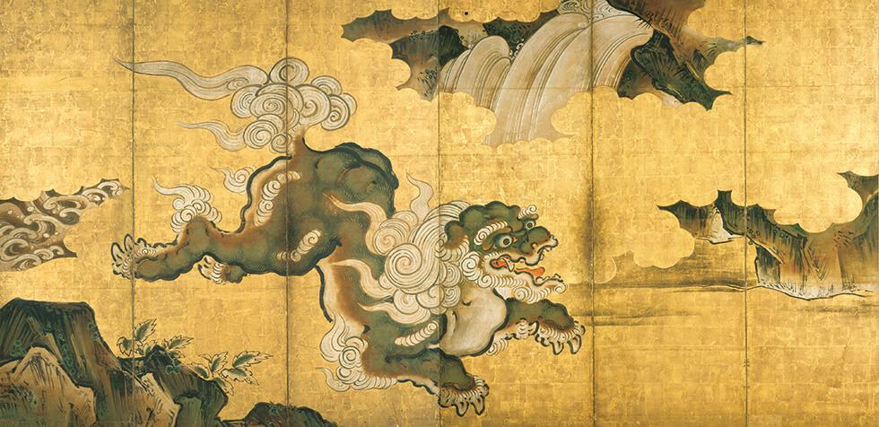 唐獅子図屏風 左隻:狩野常信(1636~1713)江戸時代(17世紀)