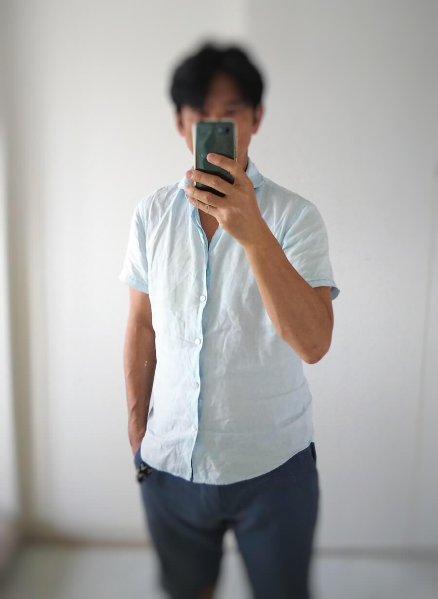 EDIFICE x MONTI 麻混半袖シャツ