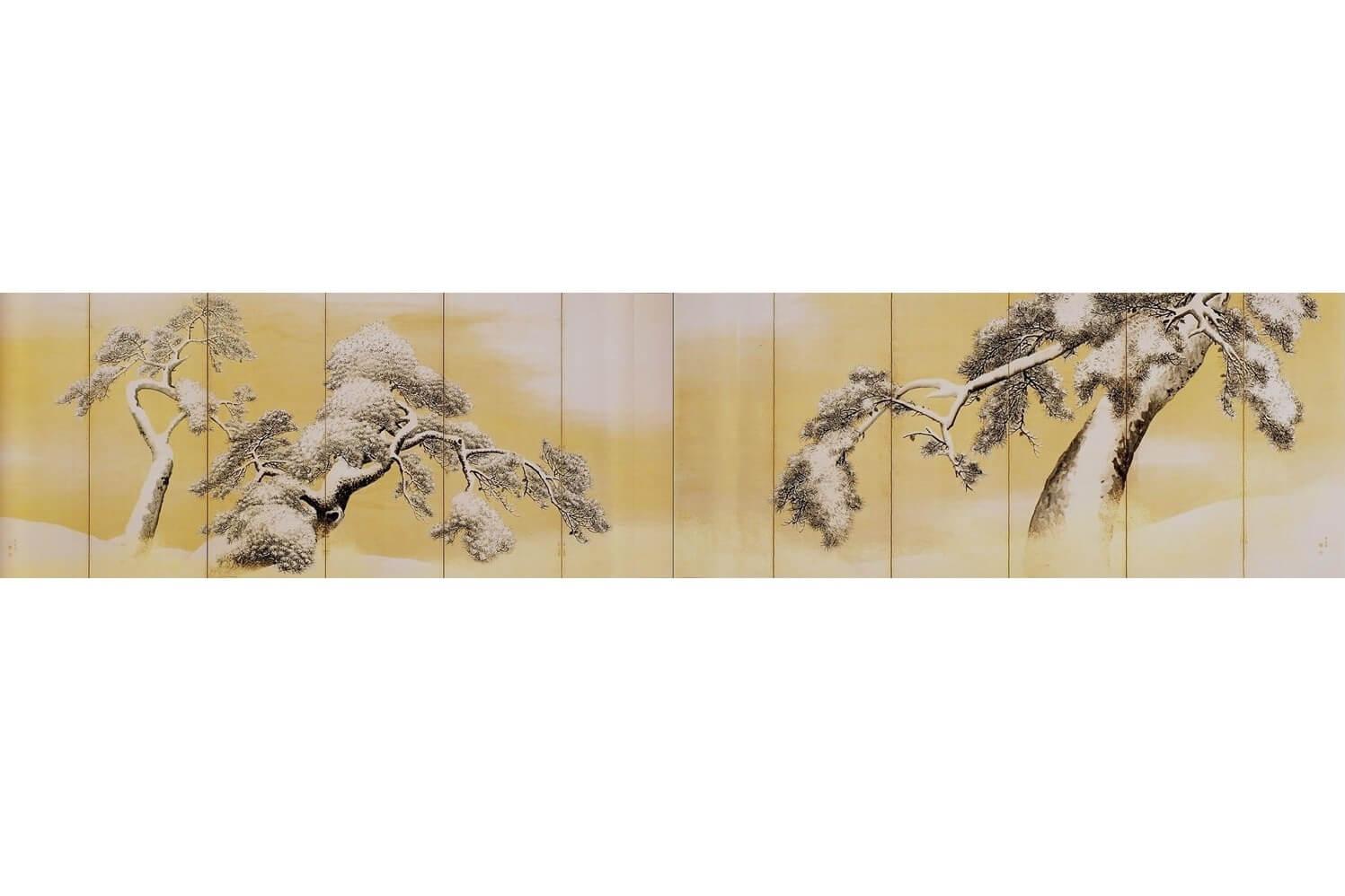 円山応挙 雪松図屏風 (国宝)三井記念美術館