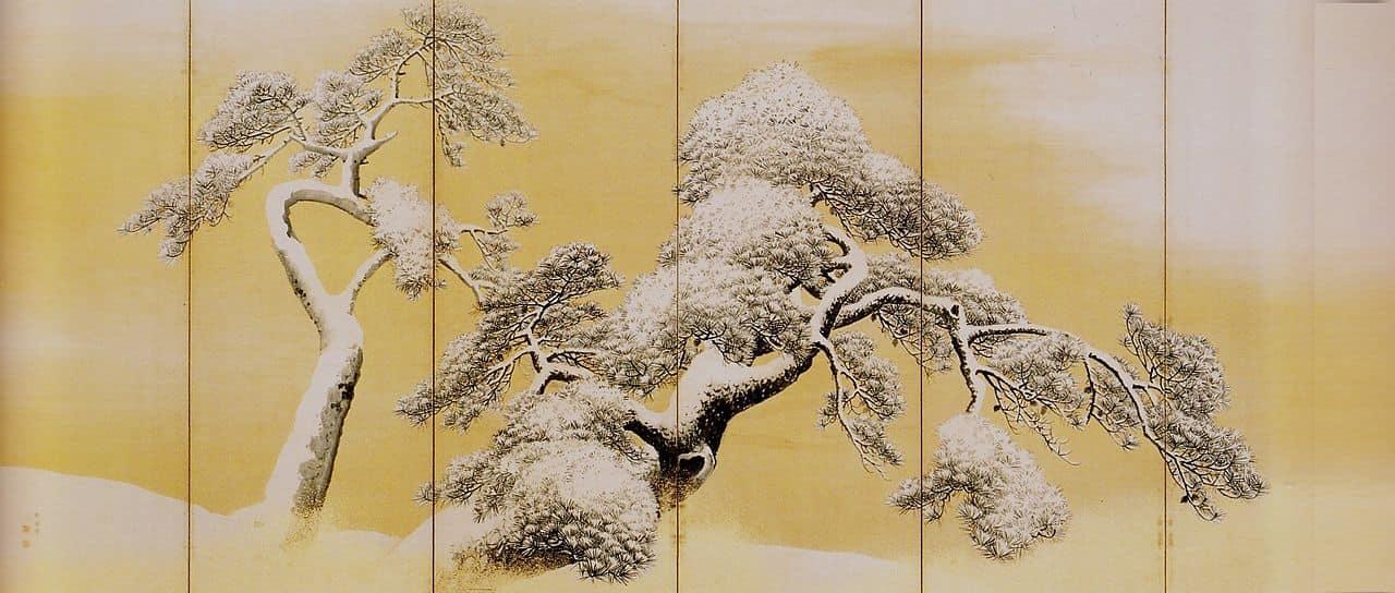 円山応挙 雪松図屏風 左隻(国宝)三井記念美術館