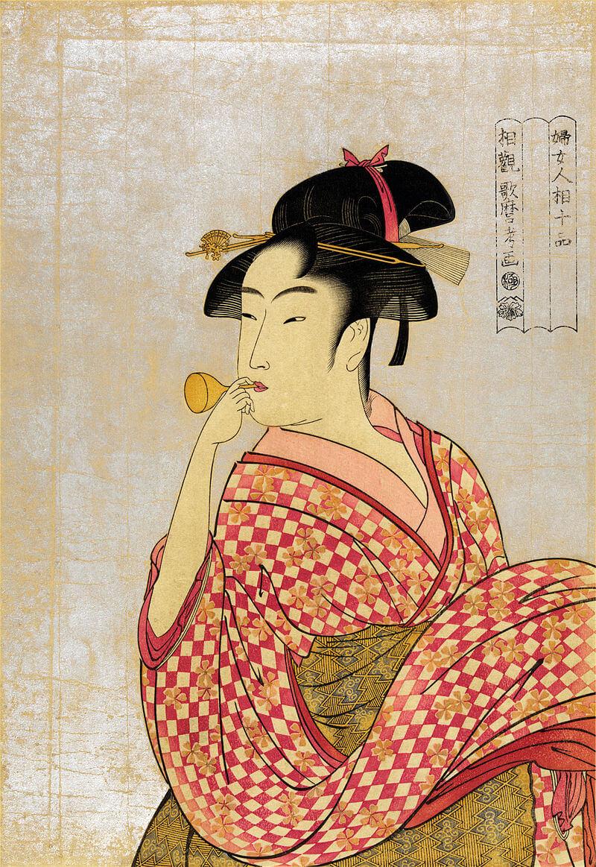 喜多川歌麿 ビードロを吹く娘 ポッピンを吹く女