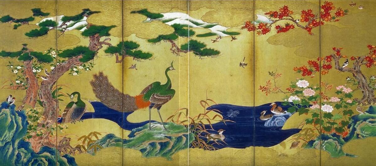 「四季花鳥図屏風」 白鶴美術館蔵 伝狩野永徳