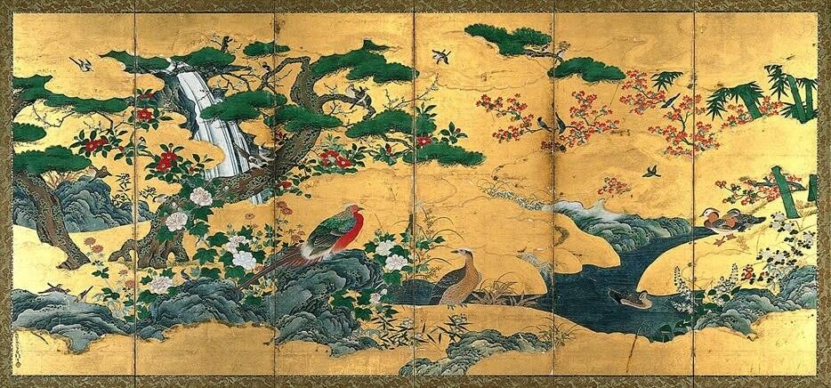 「四季花鳥図屏風」伝狩野永徳 左隻 白鶴美術館蔵