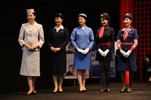 JAL 客室乗務員(昔スチュワーデス)歴代制服ファッションショー。